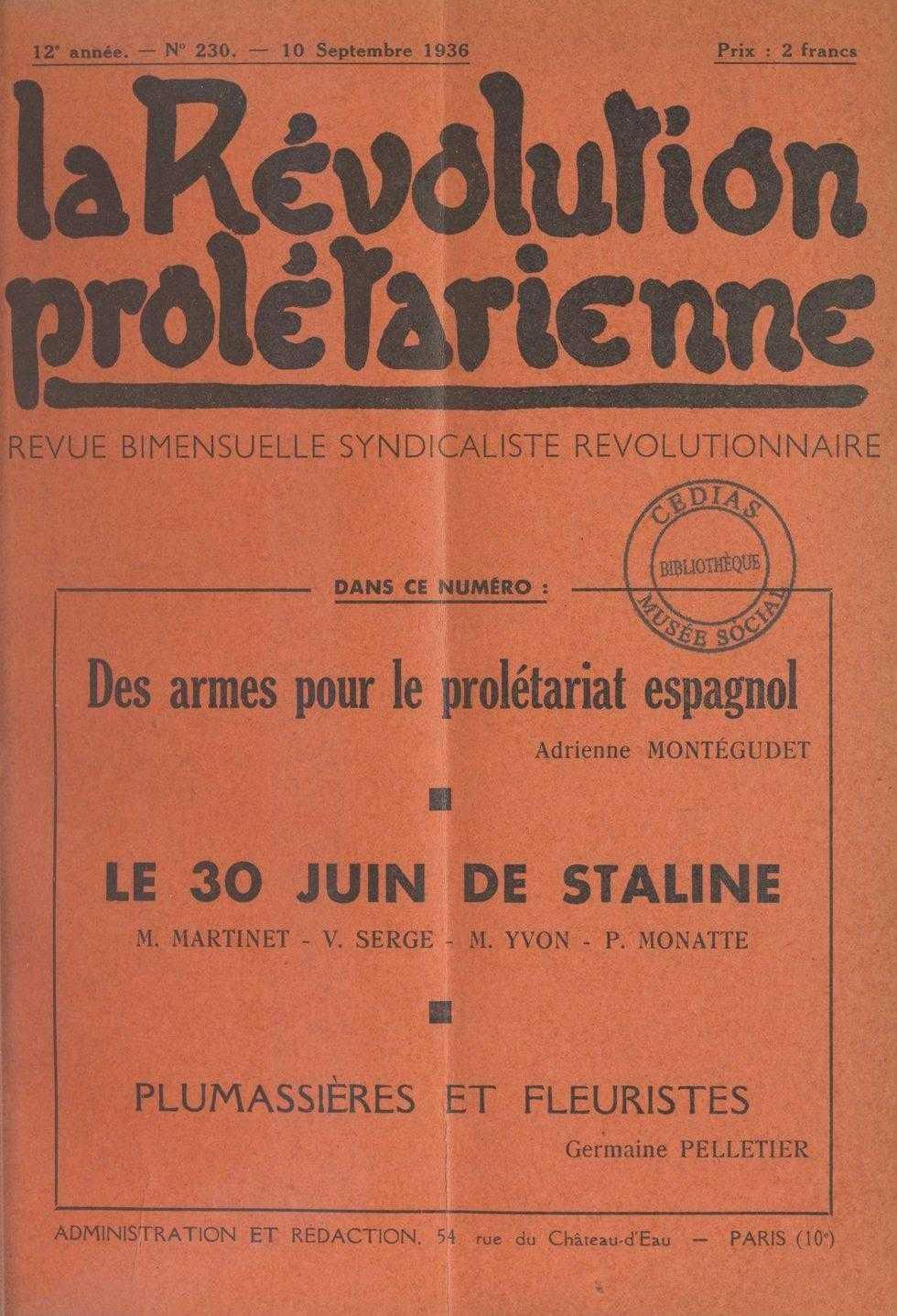 """Un article de Montégudet en """"La Révolution Prolétarienne"""""""