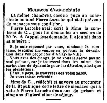 """Notícia d'una de les condemnes de Pierre Laroche apareguda en el diari parisenc """"Le XX Siècle"""" del 24 de novembre de 1901"""