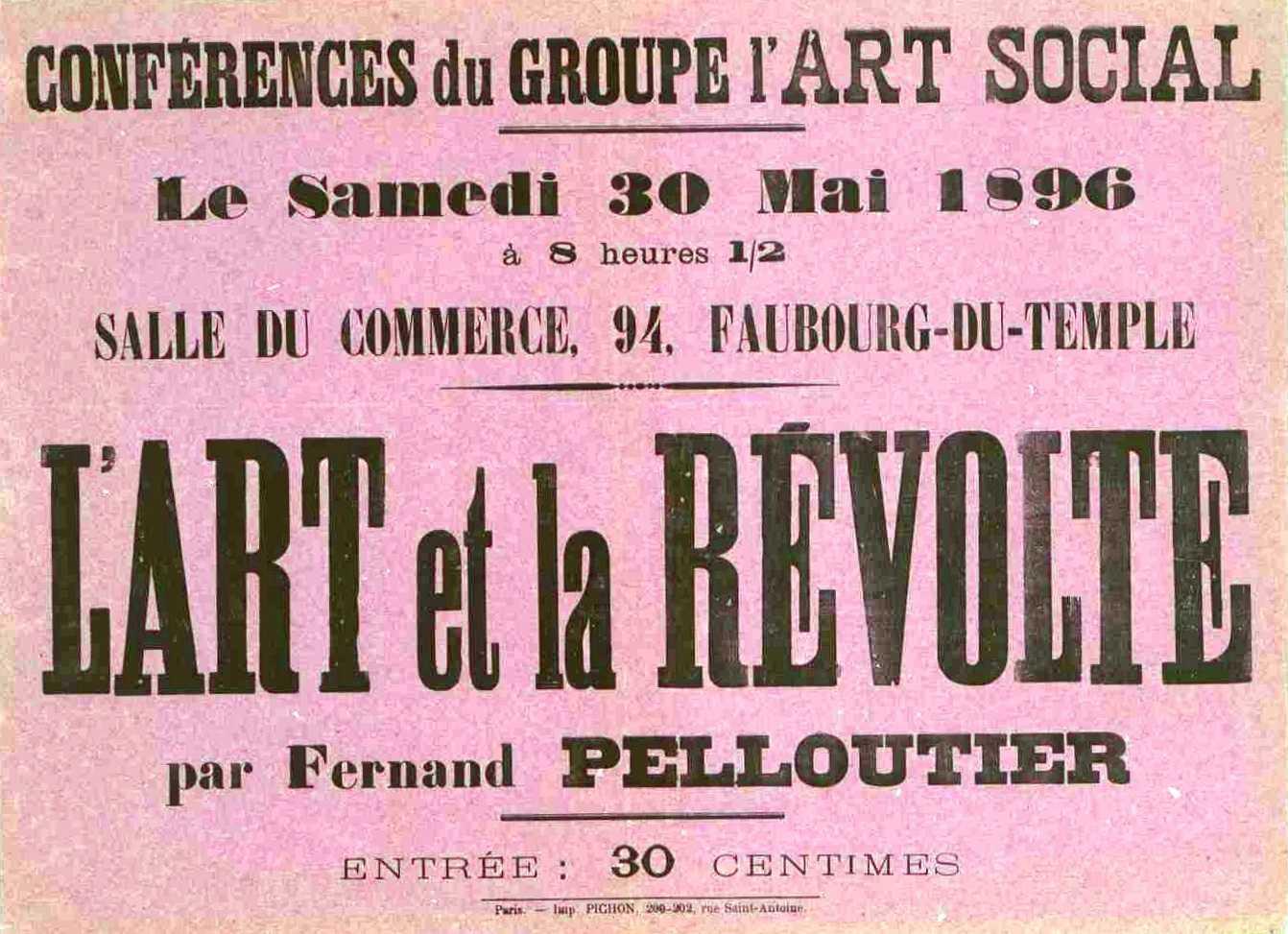"""Cartell de la conferència """"L'Art et la Révolte"""""""