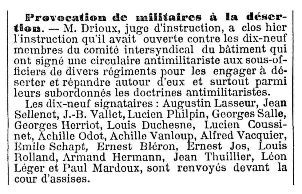 """Notícia del processament d'Augustin Lasseur i d'altres companys apareguda en el periòdic parisenc """"Le Temps"""" del 12 d'agost de 1912"""