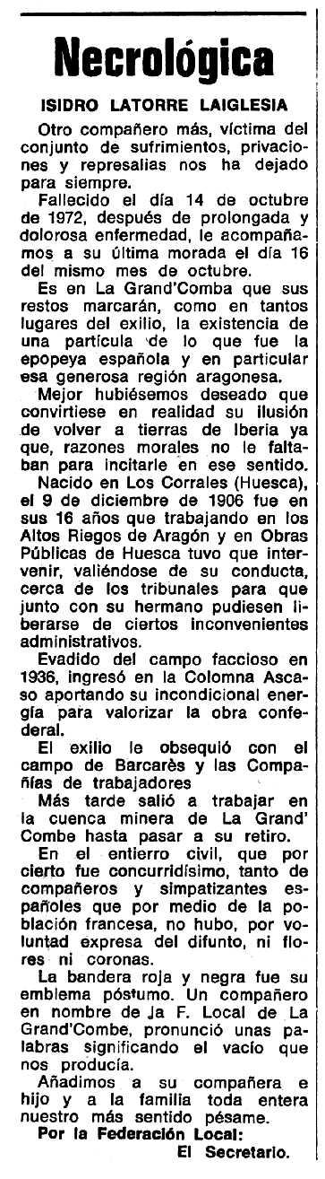 """Necrològica d'Isidro Latorre Laiglesia apareguda en el periòdic tolosà """"Espoir"""" del 21 de gener de 1973"""