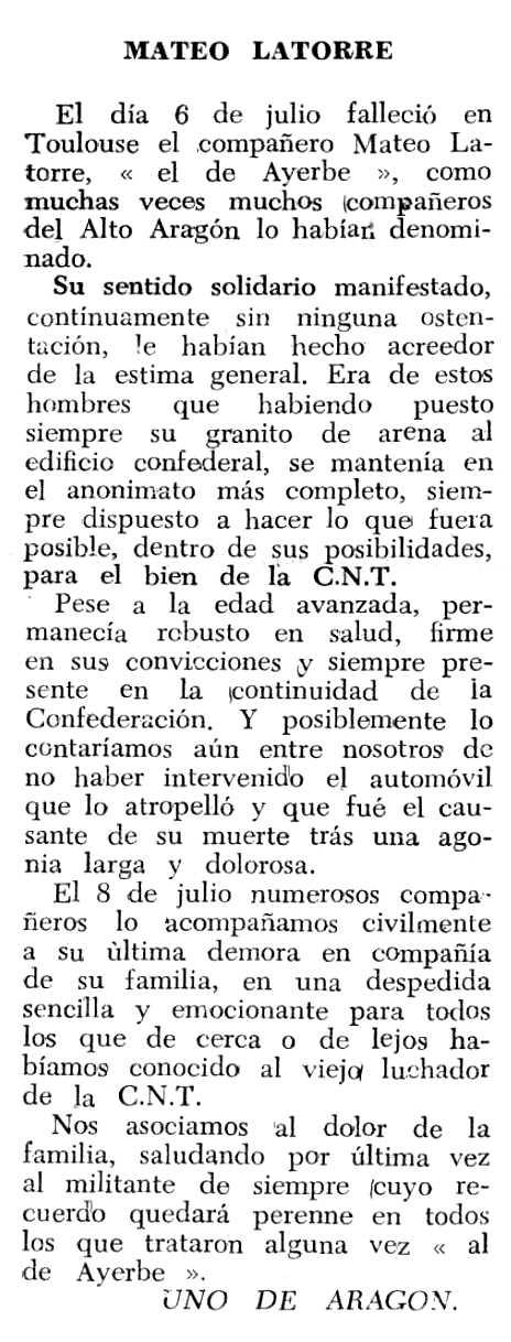 "Necrològica de Mateo Latorre Cinto apareguda en el periòdic tolosà ""Espoir"" del 23 d'octubre de 1966"