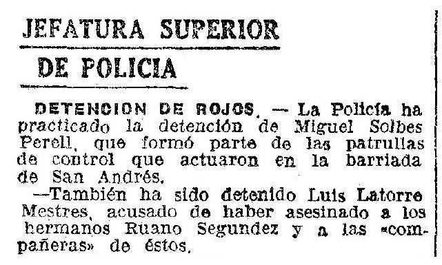 """Notícia de la detenció de Lluís Latorre Mestres apareguda en el diari barceloní """"La Vanguardia"""" del 12 de juliol de 1941"""