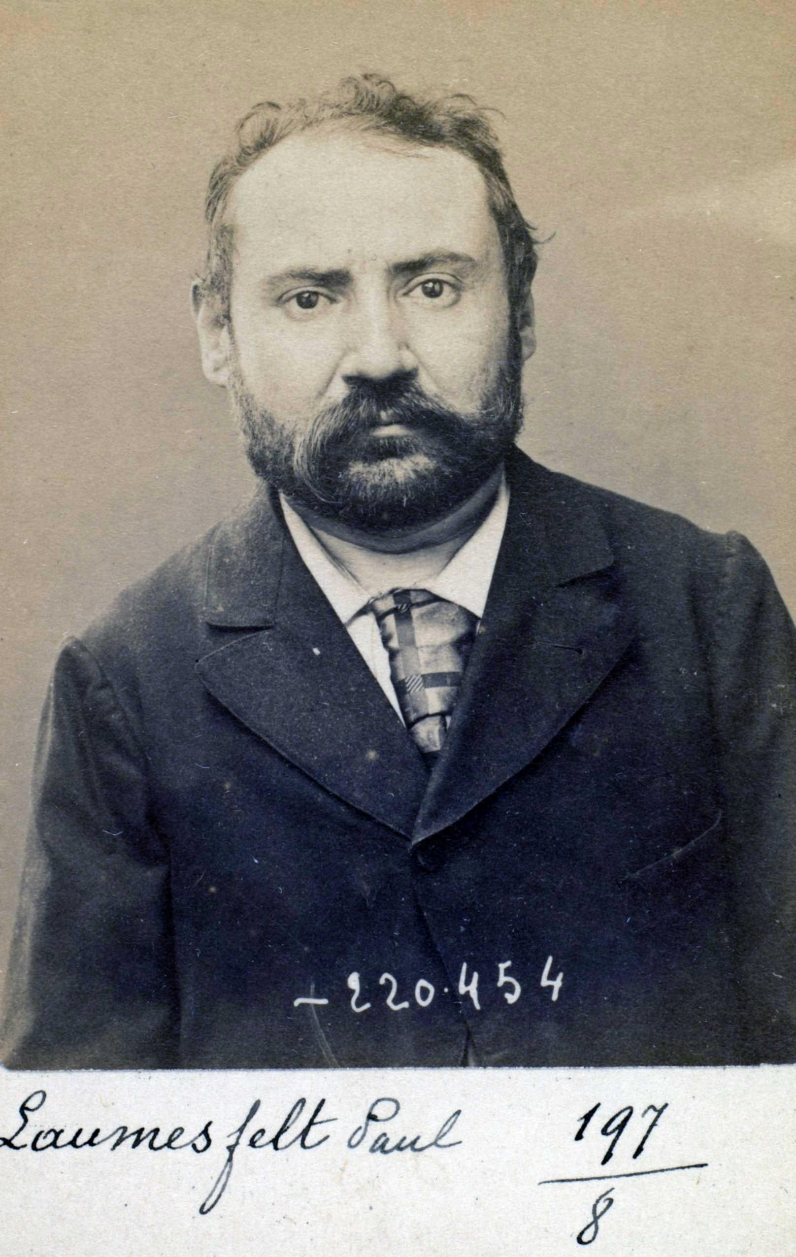 Foto policíaca de Paul Mathias Laumesfelt (2 de juliol de 1894)