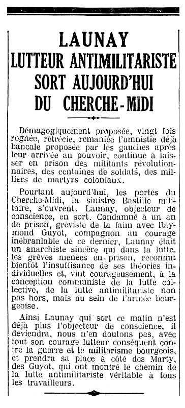 """Notícia de l'alliberament de Charles Launay apareguda en el diari parisenc """"L'Humanité"""" del 21 de juliol de 1933"""