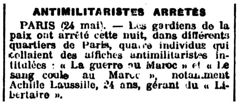 """Notícia de la detenció d'Achille Lausille apareguda en el diari de Chalon-sur-Saône """"Courrier de Saône-et-Loire"""" del 25 de maig de 1925"""