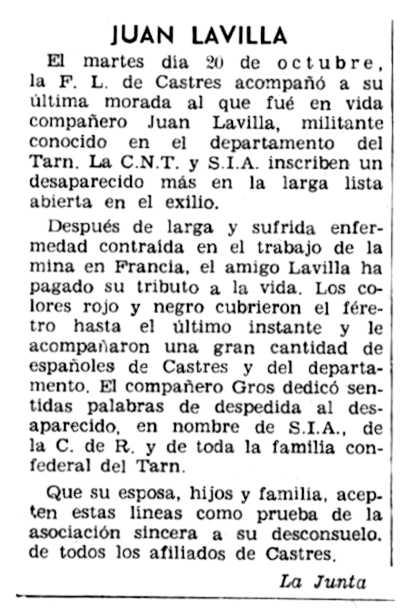 """Necrològica de Juan Lavilla Laborda apareguda en el periòdic parisenc """"Solidaridad Obrera"""" del 12 de novembre de 1959"""