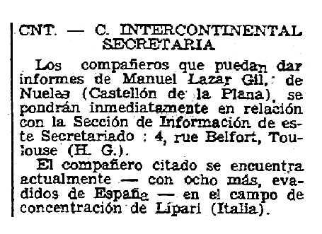 """Notícia sobre Manuel Lazar Gil apareguda en el periòdic parisenc """"Solidaridad Obrera"""" del 3 de setembre de 1949"""