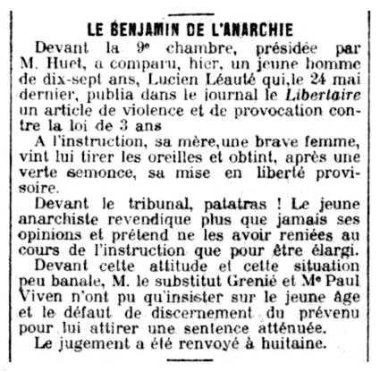"""Notícia del judici de Lucien Léauté apareguda en el diari """"Le Petit Parisien"""" del 7 de gener de 1914"""
