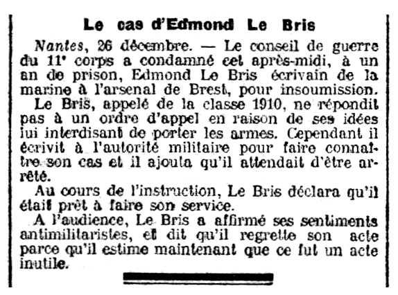 "Notícia de la condemna d'Edmond Le Bris apareguda en el diari parisenc ""La Lanterne"" del 28 de desembre de 1911"