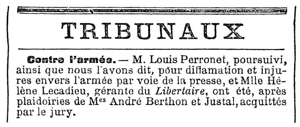 """Notícia de l'absolució d'Hélène Lecadieu apareguda en el diari parisenc """"Le Temps"""" de l'11 de desembre de 1910"""