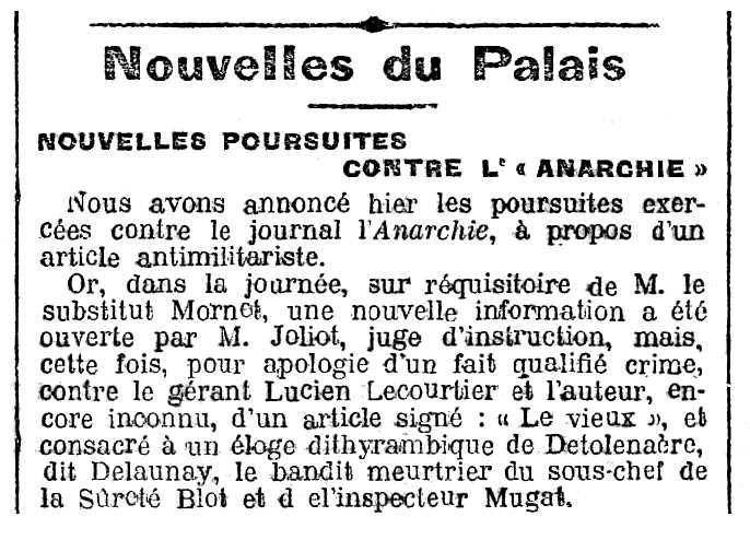 """Notícia sobre el processament de Lucien Lecourtier apareguda en el periòdic parisenc """"Gil Blas"""" del 7 d'agost de 1909"""