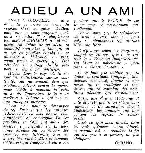 """Necrològica d'Albert Ledrappier apareguda en el periòdic tolosà """"Espoir"""" del 20 de novembre de 1966"""
