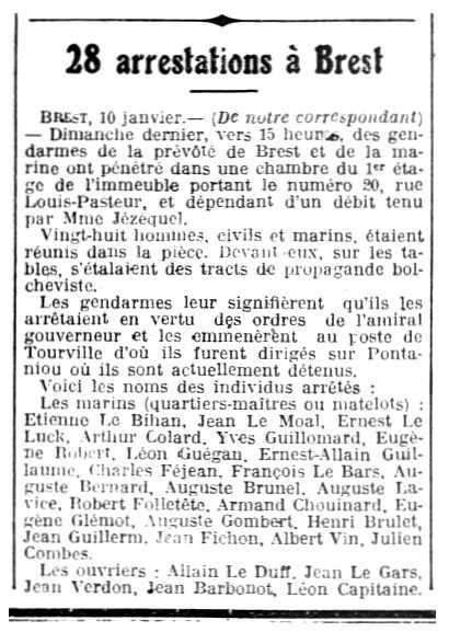 """Notícia de la detenció d'Alain Le Duff i d'altres companys apareguda en el diari de """"L'Ouest-Éclair"""" del 11 de gener de 1919"""