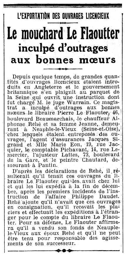 """Notícia del processament de Pierre Le Flaouter apareguda en el periódic """"Le Populaire de Paris"""" del 22 de març de 1924"""
