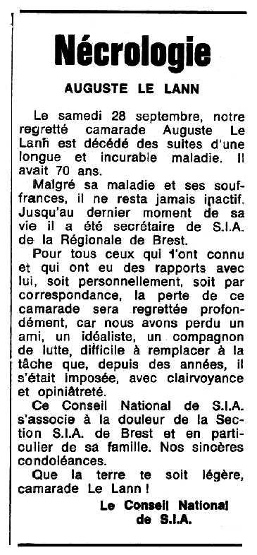 """Necrològica d'Auguste Le Lann apareguda en el periòdic tolosà """"Espoir"""" del 27 d'octubre de 1974"""