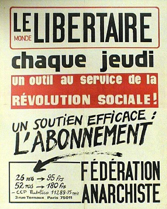 """Cartel de """"Le Monde Libertaire"""" (1977)"""