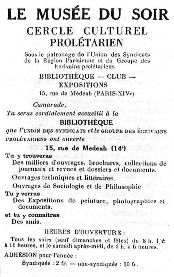 "Propaganda de ""Le Musée du Soir"""
