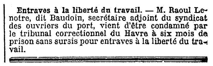 """Notícia sobre la condemna de Raoul Lenôtre apareguda en el diari parisenc """"Le Temps"""" del 6 de desembre de 1923"""