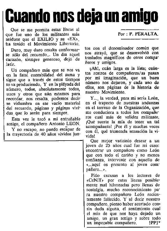 """Necrològica d'Antonio León Rubio apareguda en el periòdic tolosà """"Cenit"""" del 26 de setembre de 1989"""