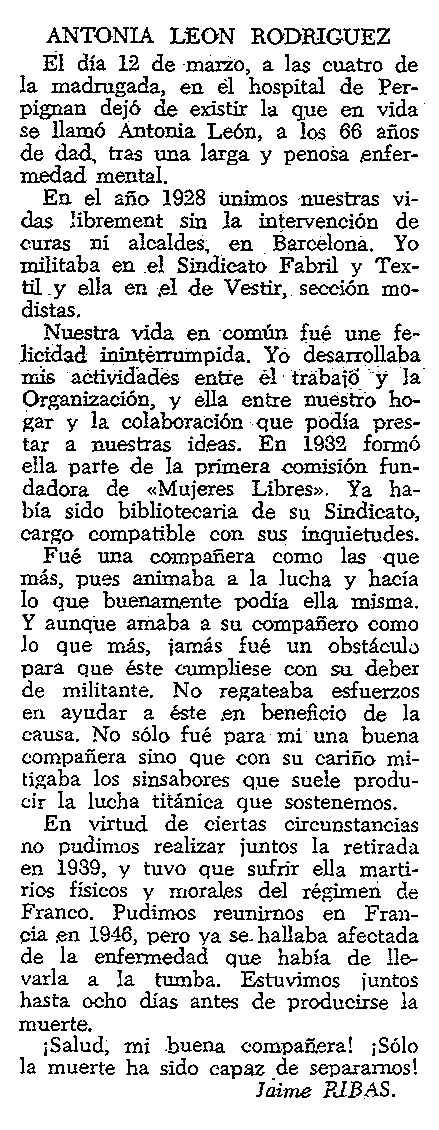 "Necrològica d'Antonia León Rodríguez apareguda en el periòdic tolosà ""CNT"" del 6 d'abril de 1958"