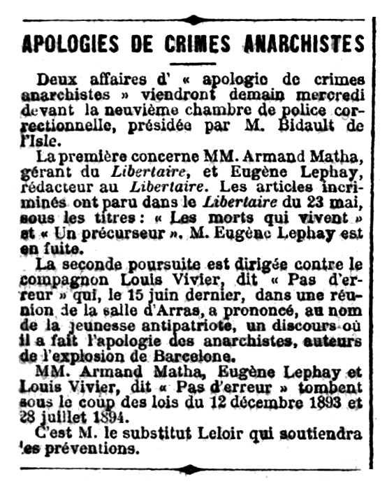 """Notícia del processament d'Eugène Lephay apareguda en el diari parisenc """"Le Rappel"""" de l'1 de juliol de 1896"""