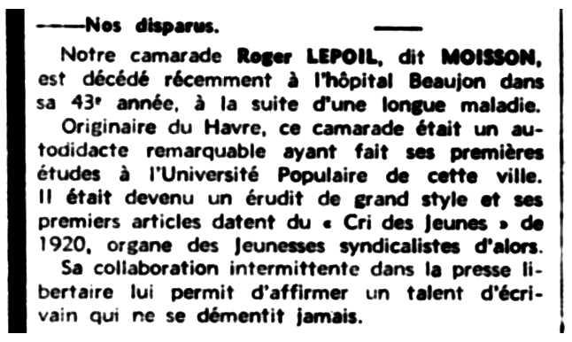 """Necrològica de Roger Lepoil apareguda en el periòdic parisenc """"Le Libertaire"""" de l'1 d'agost de 1945"""
