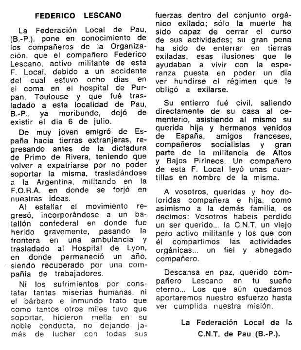 """Necrològica de Federico Lescano apareguda en el periòdic tolosà """"Espoir"""" del 19 d'octubre de 1969"""