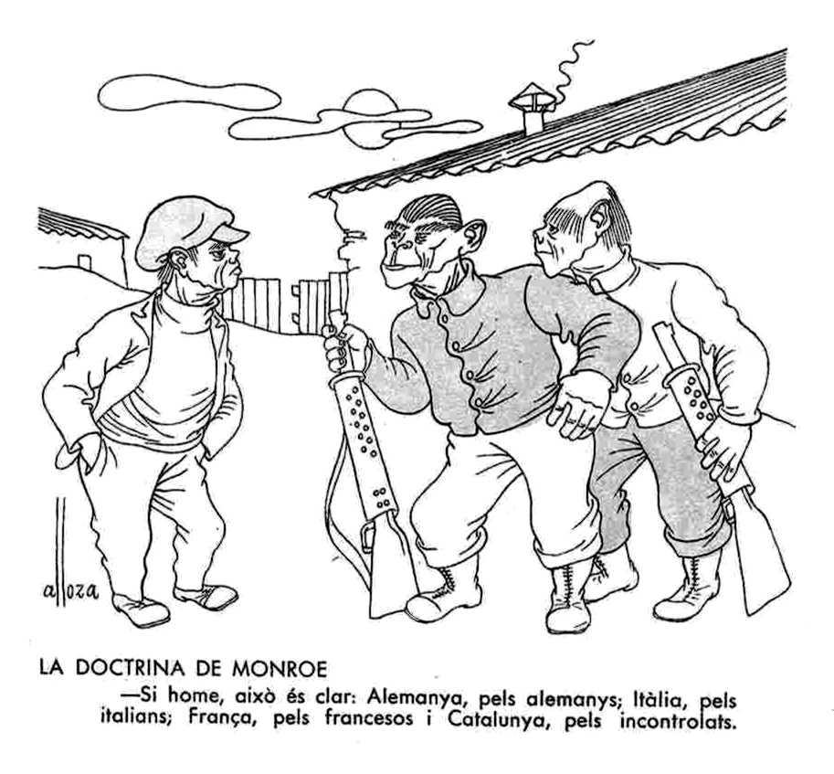 """Típico dibujo escarnidor de """"L'Esquella de la Torratxa"""" (número 3.015 del 4 de junio de 1937)"""