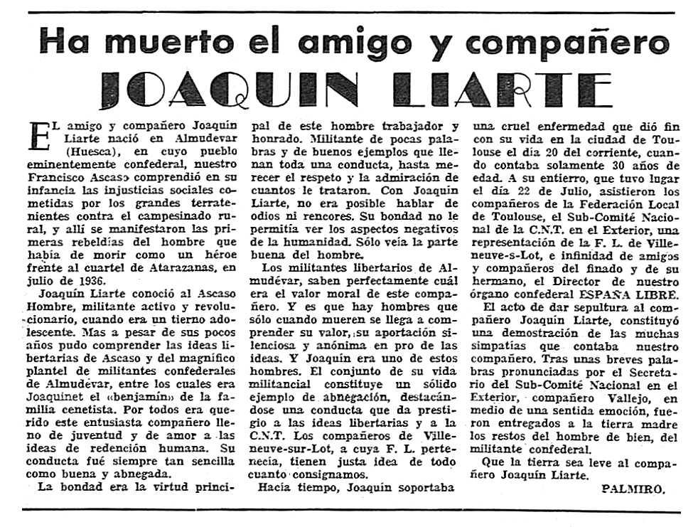 "Necrològica de Joaquín Liarte Viu apareguda en el periòdic tolosà ""España Libre"" de l'1 d'agost de 1954"