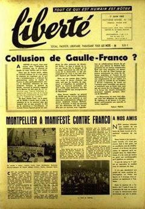 """Collusion de Gaulle-Franco?"", un article de Robert Proix en ""Liberté"""