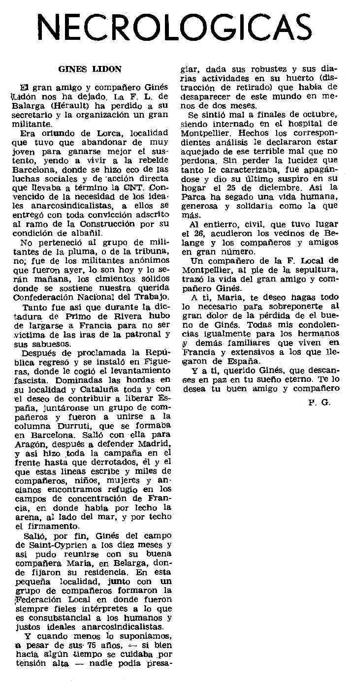 "Necrològica de Ginés Lidón apareguda en el periòdic parisenc ""Le Combat Syndicaliste"" del 21 de febrer de 1974"