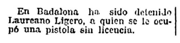 """Exigua notícia de la detenció de Laureano Ligero Galindo apareguda en el diari madrileny """"El Imparcial"""" del 3 de maig de 1929"""