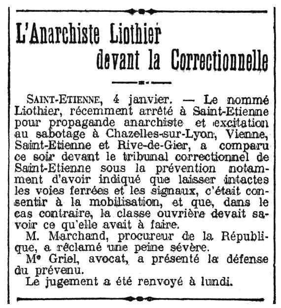"""Notícia del judici de Benoît Liothier apareguda en el diari parisenc """"Le Radical"""" del 5 de gener de 1913"""
