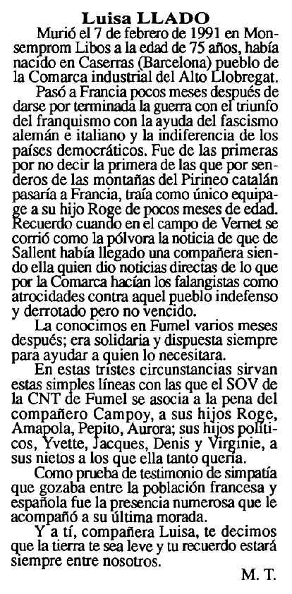 """Necrològica de Lluïsa Lladó apareguda en el periòdic tolosà """"Cenit"""" de l'1 d'octubre de 1991"""