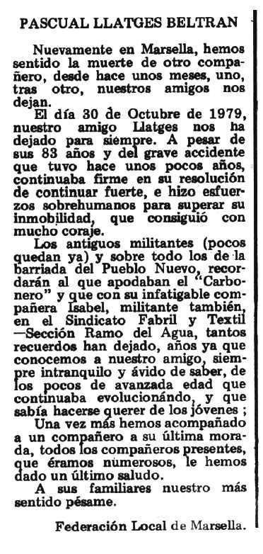 "Necrològica de Pascual Llatges Beltrán apareguda en el periòdic tolosà ""Espoir"" del 2 de desembre de 1979"