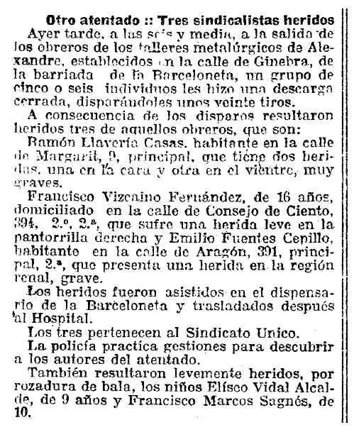 "Notícia sobre l'atemptat contra Ramón Llavería Casas apareguda en el diari barceloní ""La Vanguardia"" del 27 de febrer de 1921"