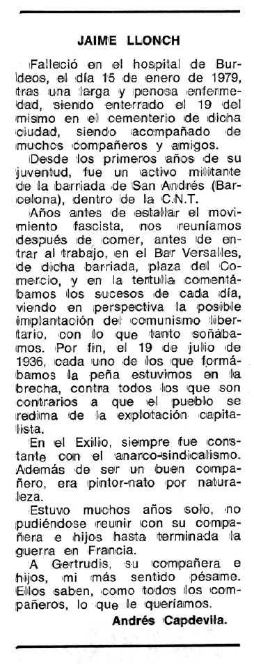 "Necrològica de Jaume Llonch apareguda en el periòdic tolosà ""Espoir"" del 19 de febrer de 1979"