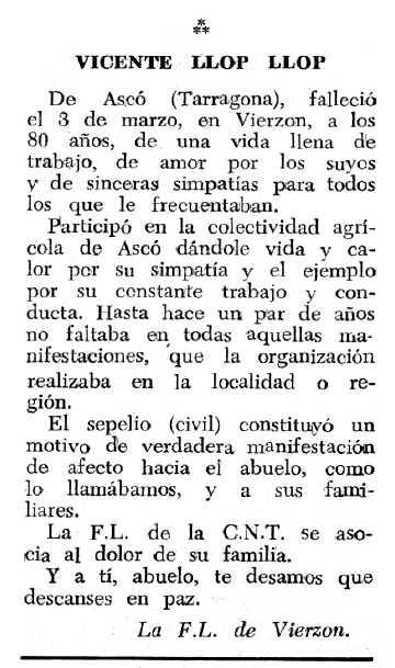 """Necrològica de Vicenç Llop Llop apareguda en el periòdic tolosà """"Espoir"""" del 28 de maig de 1967"""