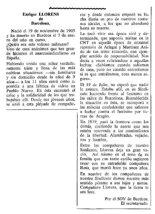 """Necrològica d'Enric Llorens Jaime apareguda en el periòdic tolosà """"Cenit"""" del 7 de maig de 1990"""