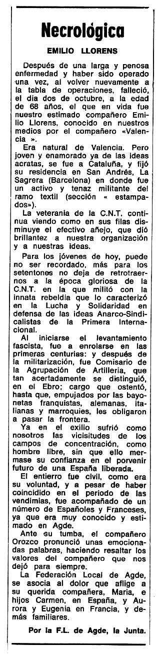 """Necrològica d'Emili Llorens Cavaller apareguda en el periòdic tolosà """"Espoir"""" del 14 de desembre de 1969"""