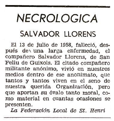 """Necrològica de Salvador Llorens Estruch apareguda en el periòdic parisenc """"Solidaridad Obrera"""" del 31 de juliol de 1958"""
