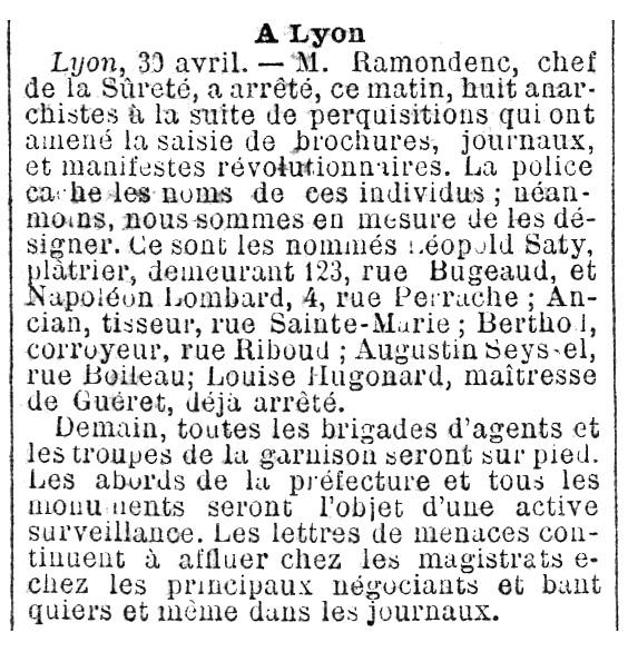 """Notícia de la detenció de Napoléon Lombard apareguda en el diari """"La Lanterne"""" del 2 de maig de 1892"""