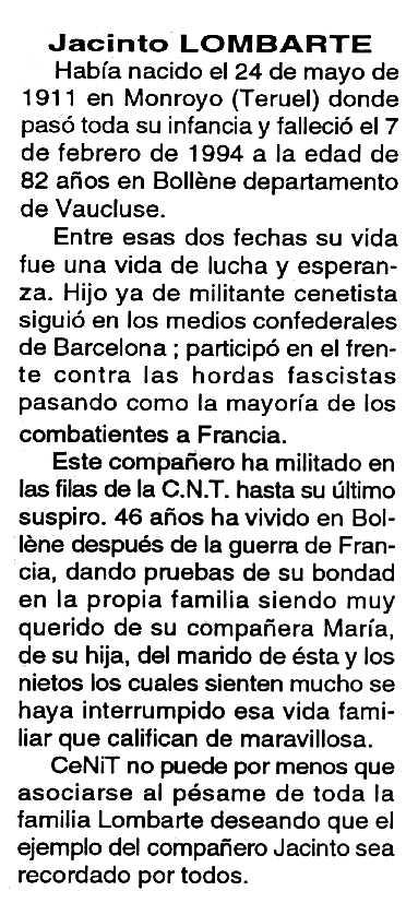 """Necrològica de Jacinto Lombarte Estupiña apareguda en el periòdic tolosà """"Cenit"""" del 13 de desembre de 1994"""