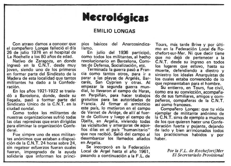 """Necrològica d'Emilio Longas Castro apareguda en el periòdic tolosà """"Espoir"""" del 27 de gener de 1980"""