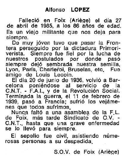 "Necrològica d'Alfonso López Abellán apareguda en el periòdic tolosà ""Cenit"" del 11 de juny de 1985"