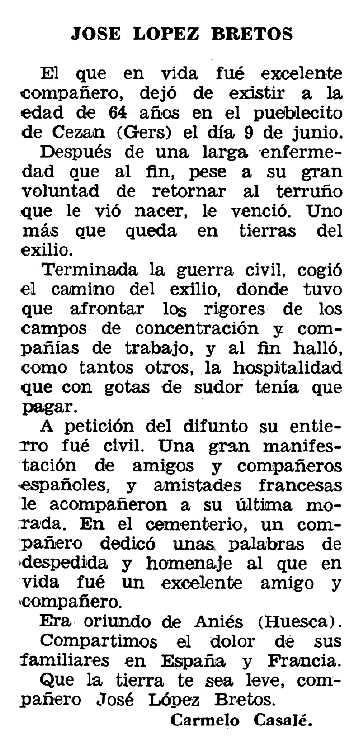 """Necrològica de José López Bretos apareguda en el periòdic tolosà """"Espoir"""" del 4 d'agost de 1963"""