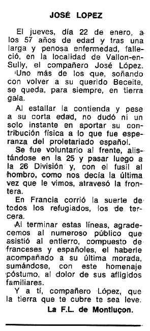"""Necrològica de José López Bueso aparaguda en el periòdic tolosà """"Espoir"""" del 25 d'abril de 1976"""