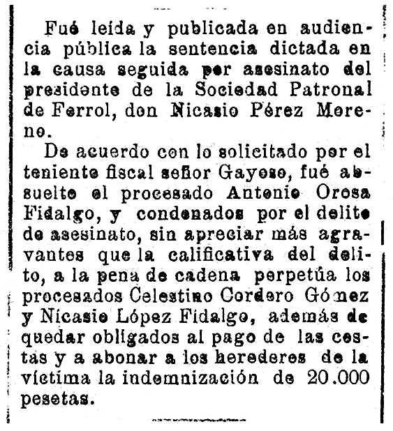 """Notícia de la condemna de Nicasio López Fidalgo apareguda en el diari """"El Eco de Santiago"""" del 24 de desembre de 1924"""