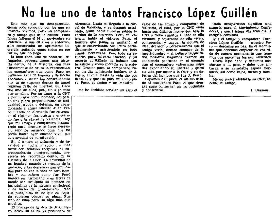 "Necrològica de Francisco López Guillén apareguda en el periòdic parisenc ""Le Combat Syndicaliste"" del 2 de maig de 1974"